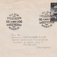 Sellos: LEGAZPI MIGUEL LOPEZ DE 1953 (EDIFIL 1124) EN SOBRE PRIMER DIA CIRCULADO. RARO ASI. OCASION. MPM.. Lote 195474646