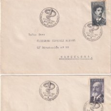 Sellos: FORTUNY Y TORRES QUEVEDO 1955-56 EDIFIL 1164/65 DOS SOBRES CIRCULADOS IV CONGRESO PATOLOGIA 1960 MPM. Lote 195475292