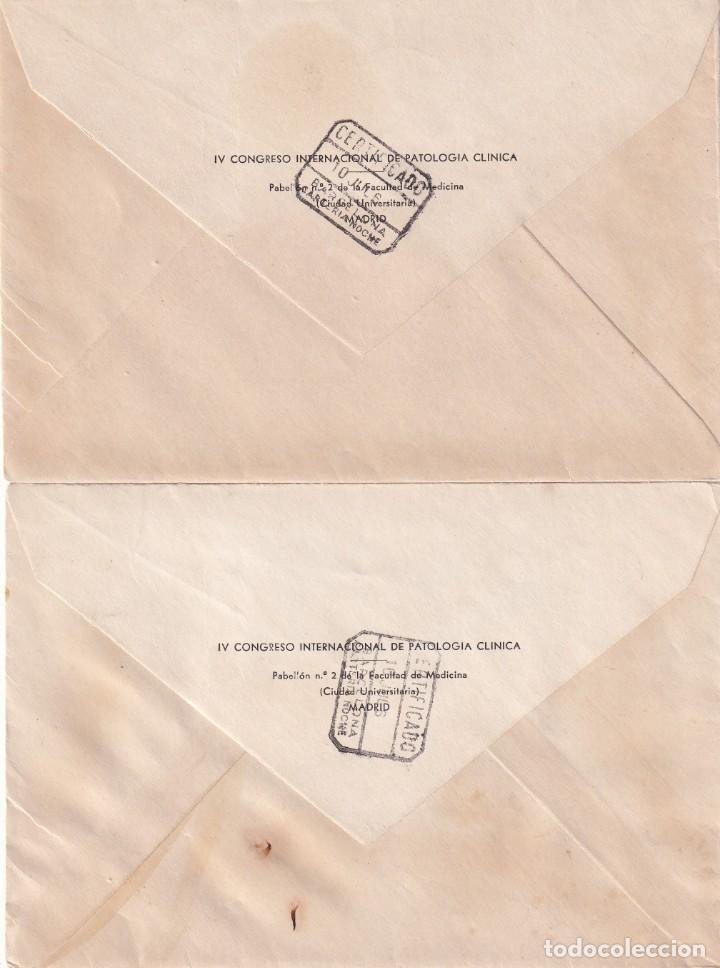 Sellos: FORTUNY Y TORRES QUEVEDO 1955-56 EDIFIL 1164/65 DOS SOBRES CIRCULADOS IV CONGRESO PATOLOGIA 1960 MPM - Foto 2 - 195475292