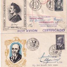 Sellos: FORTUNY Y TORRES QUEVEDO 1955-1956 (EDIFIL 1164/65) EN DOS SOBRES PRIMER DIA CIRCULADOS. RAROS ASI.. Lote 195475842