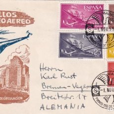 Sellos: AVION SUPER CONSTELLATION Y NAO SANTA MARIA 1955-1956 (EDIFIL 1170-72-74-76-77) MUY RARO SPD SFC MPM. Lote 195486997