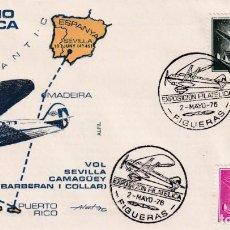 Sellos: AVION SUPERCONSTELLATION Y NAO STA MARIA (EDIFIL 1174-1169) SOBRE MATASELLOS VUELO FIGUERAS 1976 MPM. Lote 195508637