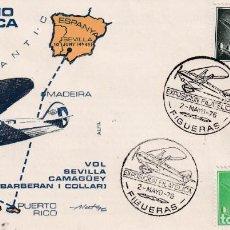 Sellos: AVION SUPERCONSTELLATION Y NAO STA MARIA (EDIFIL 1173-1169) SOBRE MATASELLOS VUELO FIGUERAS 1976 MPM. Lote 195508652