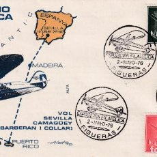 Sellos: AVION SUPERCONSTELLATION Y NAO STA MARIA (EDIFIL 1172-1169) SOBRE MATASELLOS VUELO FIGUERAS 1976 MPM. Lote 195508686