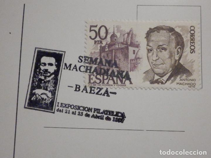 Sellos: Postal Baeza - Matasellos Semaba Machadiana - Antonio Machado - 21-25 abril 1997 - Foto 2 - 195513620