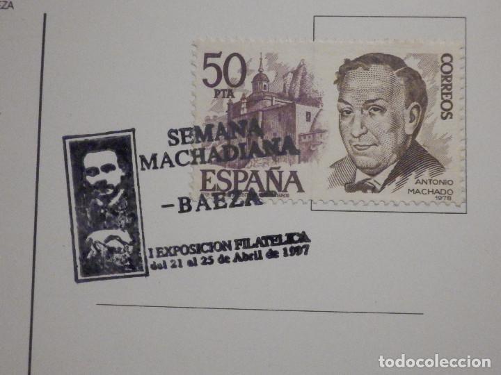 Sellos: Postal Baeza - Matasellos Semaba Machadiana - Antonio Machado - 21-25 abril 1997 - Foto 2 - 195513897