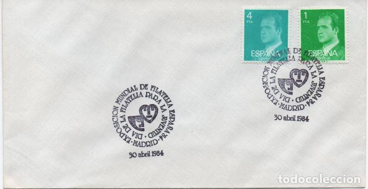 SOBRE NO CIRCULADO CON DOBLE MATASELLOS DE LA EXPOSICIÓN MUNDIAL DE FILATELIA. 1984 (Sellos - Historia Postal - Sello Español - Sobres Primer Día y Matasellos Especiales)