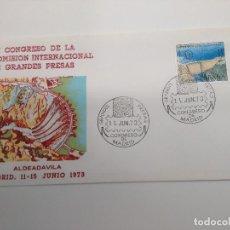 Sellos: MATASELLO GRANDES PRESAS CONGRESO DE MADRID. EDIFIL 2128 SOBRE ALFIL TEXTO REVERSO. Lote 195689256