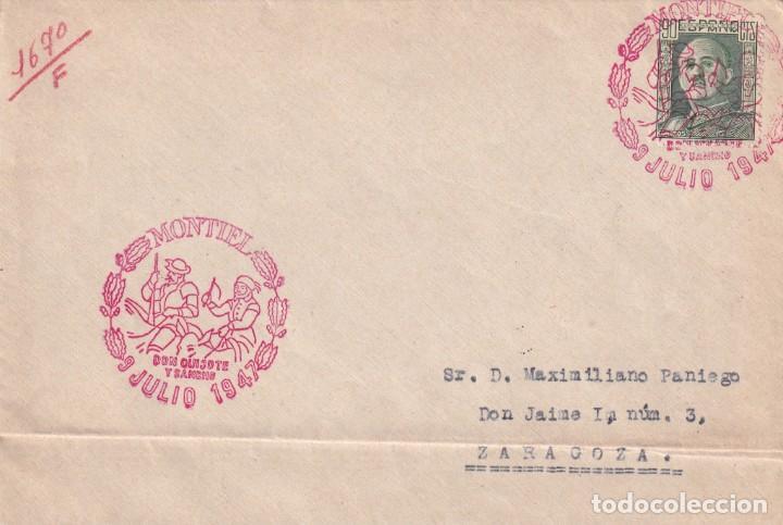 DON QUIJOTE CERVANTES RUTA DEL QUIJOTE, MONTIEL (CIUDAD REAL) 1947. RARO MATASELLOS EN CARTA. MPM. (Sellos - Historia Postal - Sello Español - Sobres Primer Día y Matasellos Especiales)