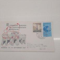 Sellos: IX CONGRESO EUROPEO DE ESPECTROSCOPIA MOLECULAR MADRID 1967 CERTIFICADO DEL 20 SEP . Lote 196111968