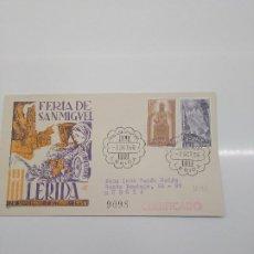 Sellos: FERIA DE SAN MIGUEL 1956 LERIDA CERTIFICADO FRUTA. Lote 196164762