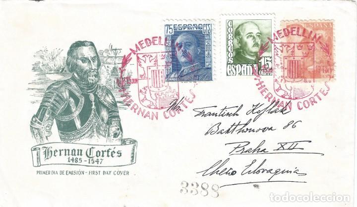 HERNÁN CORTÉS. MATASELLOS ESPECIAL MEDELLÍN BADAJOZ FECHA EMISIÓN 15-JUNIO-1948. LUJO. (Sellos - Historia Postal - Sello Español - Sobres Primer Día y Matasellos Especiales)