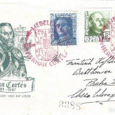 Sellos: HERNÁN CORTÉS. MATASELLOS ESPECIAL MEDELLÍN BADAJOZ FECHA EMISIÓN 15-JUNIO-1948. LUJO.. Lote 196308143