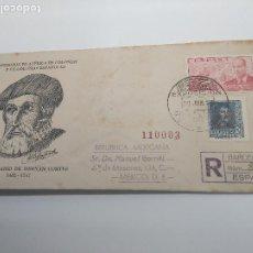 Sellos: EXPOSICION FILATELICA BARCELONA 1948 GUINEA CIRCULADO AEREO MEXICO EDIFIL 845 Y 941. Lote 196326971