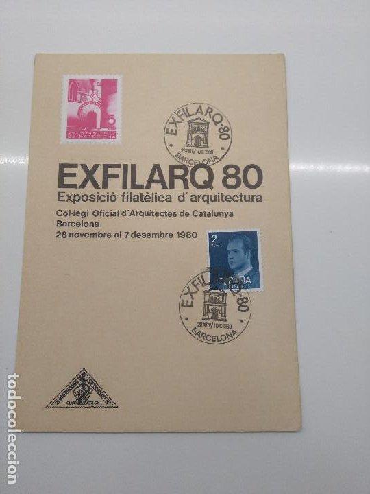 TARJETA CON MATASELLOS EXFILARQ80 BARCELONA 1980 ARQUITECTURA (Sellos - Historia Postal - Sello Español - Sobres Primer Día y Matasellos Especiales)