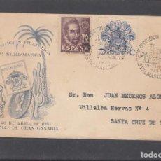 Sellos: 1953-19/04 LAS PALMAS, CIRCULADA, CON FRANQUEO + LOCAL PRO PALMAS, DORSO VIÑETA. RARO. Lote 197297483