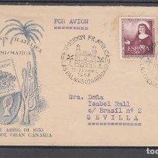 Sellos: 1953-19/04 LAS PALMAS, CIRCULADA, EXPOSICIÓN FILATÉLICA,. Lote 197297685