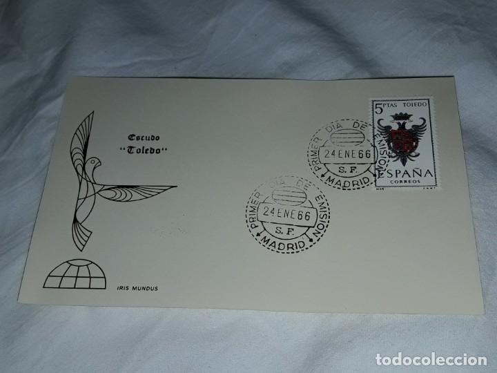 Sellos: Antiguo sobre Escudo Toledo Iris Mundus año 1966 - Foto 2 - 197564335