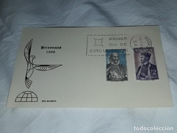 ANTIGUO SOBRE PERSONAJES IRIS MUNDUS AÑO 1966 (Sellos - Historia Postal - Sello Español - Sobres Primer Día y Matasellos Especiales)