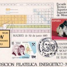 Timbres: WOLFRAMIO BICENTENARIO DEL DESCUBRIMIENTO, MADRID 1983. RARO MATASELLOS EN BONITA TARJETA MODELO 1.. Lote 197951066