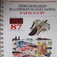 Sellos: EXFILNA 1987 GIRONA 12 SELLOS CON MATASELLOS ESPECIALES EN HOJA 15 ANILLAS. Lote 198114781