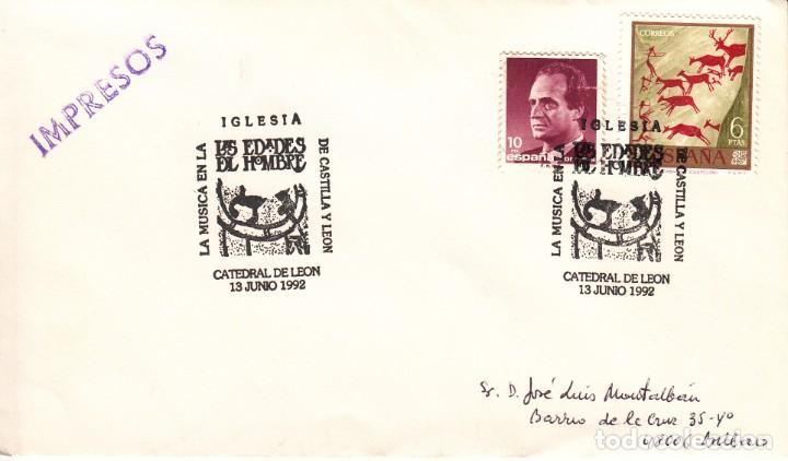 TARJETA: 1992 LEON. LA MUSICA EN LAS EDADES DEL HOMBRE DE CASTILLA Y LEON (Sellos - Historia Postal - Sello Español - Sobres Primer Día y Matasellos Especiales)