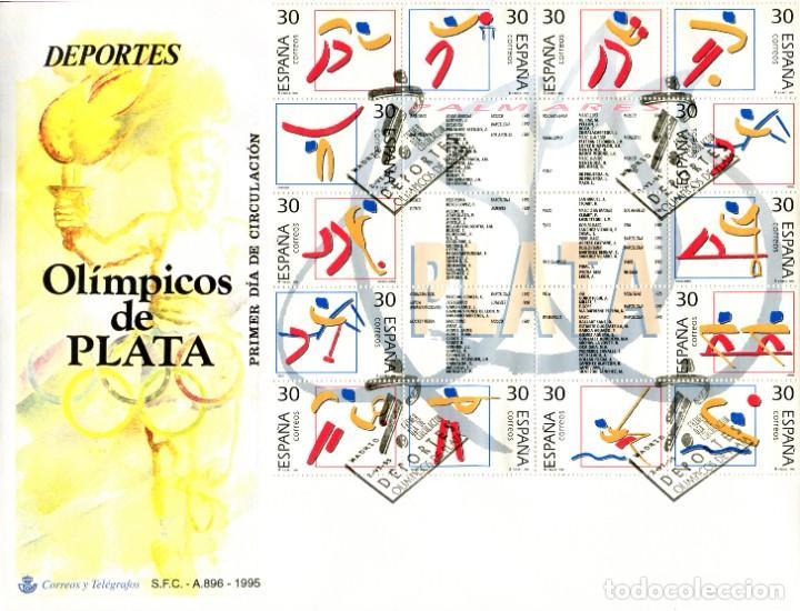 SOBRE PRIMER DÍA DE CIRCULACIÓN. DEPORTES OLÍMPICOS DE PLATA. 1995 (Sellos - Historia Postal - Sello Español - Sobres Primer Día y Matasellos Especiales)