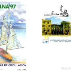 Sellos: ESPAÑA . SOBRE PRIMER DIA . GIJON . ASTURIAS . EXFILNA 1997 . HOJITA EDIFIL 3512. Lote 199245125