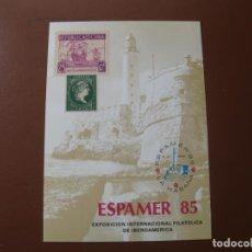 Sellos: TARJETA RECUERDO NUMERADA AL DORSO, ESPAMER 85, LA HABANA,EXPOSICION DE IBEROAMERICA. Lote 199498151