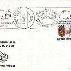 Sellos: TARJETA: 1983 SANTANDER. 1º ANIVERSARIO AUTONOMIA CANTABRIA - DIPUTACION REGIONAL. Lote 261543840