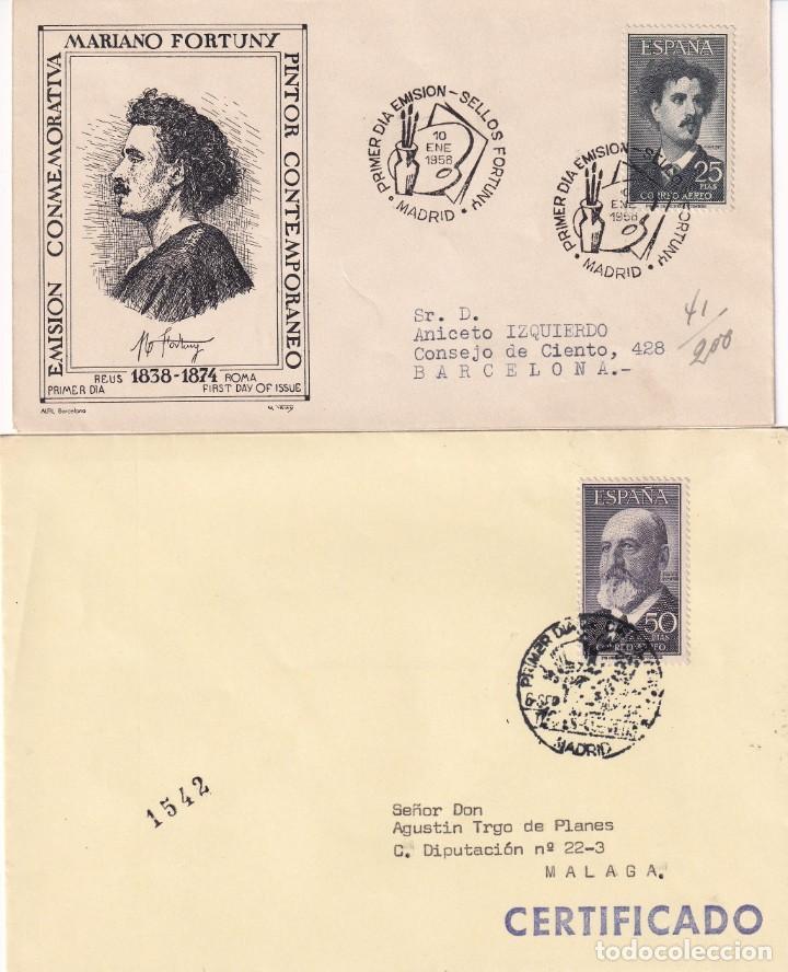 FORTUNY Y TORRES QUEVEDO 1955-1956 (EDIFIL 1164/65) EN DOS SOBRES PRIMER DIA CIRCULADOS. RAROS. MPM (Sellos - Historia Postal - Sello Español - Sobres Primer Día y Matasellos Especiales)