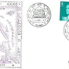 Sellos: TRENES: 125 ANIVERSARI DEL FERRO-CARRIL DEL GRAU DE VALENSIA A XATIVA,1979.MATASELLOS EN SOBRE. Lote 200352157