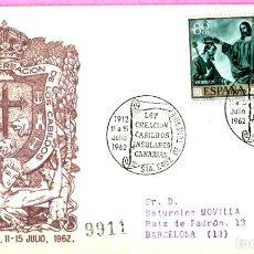 Sellos: AÑO 1962, CABILDOS INSULARES DE CANARIAS, 50 ANIVº, SANTA CRUZ DE TENERIFE, SOBRE DE ALFIL CIRCULADO. Lote 200605100