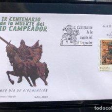 Sellos: SPD SOBRE PRIMER DIA CIRCULACION. SFC 1999, IX CENTENARIO DE LA MUERTE DEL CID CAMPEADOR. Lote 200649717
