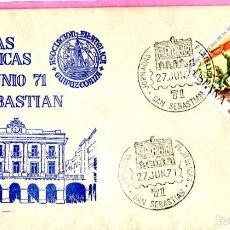 Sellos: JORNADAS FILATELICAS 71, SAN SEBASTIAN (GUIPUZCOA) 1971. MATASELLOS EN SOBRE ILUSTRACION AZUL.. Lote 200726153