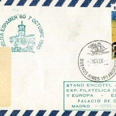 Sellos: MATASELLO ESPECIAL ESPAMER 80 ARGENTINA-MADRID MARCA DE AVION POR DETRAS. Lote 200820968