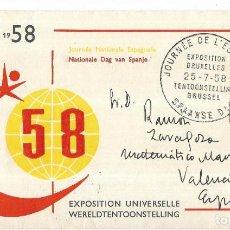 Timbres: == PA296 - SOBRE USADO BRUXELLES 1958. Lote 201351773
