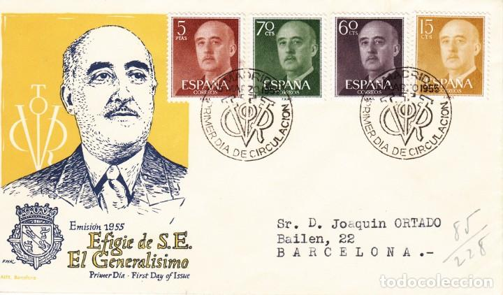 SOBRE: 1955 MADRID. EFIGIE DE S.E. EL GENERALISIMO - PRIMER DIA EMISION (Sellos - Historia Postal - Sello Español - Sobres Primer Día y Matasellos Especiales)