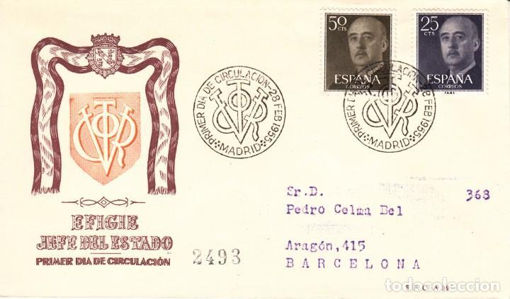 SOBRE: 1955 MADRID. EFIGIE JEFE DEL ESTADO - PRIMER DIA DE CIRCULACION (Sellos - Historia Postal - Sello Español - Sobres Primer Día y Matasellos Especiales)