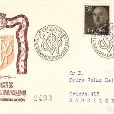 Sellos: SOBRE: 1955 MADRID. EFIGIE JEFE DEL ESTADO - PRIMER DIA DE CIRCULACION. Lote 201544571