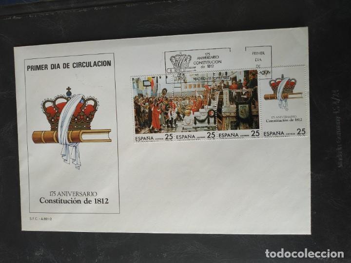 1 SOBRE PRIMER DIA DE CIRCULACION - 175 ANIVERSARIO DE LA CONSTITUCION DE 1812 (Sellos - Historia Postal - Sello Español - Sobres Primer Día y Matasellos Especiales)