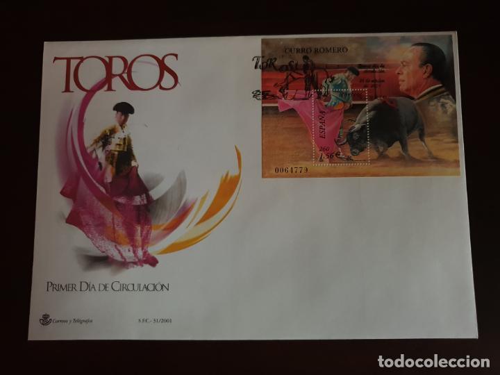 ESPAÑA SOBRE PRIMER DIA EDIFIL SH 3834 TOROS CURRO ROMERO (Sellos - Historia Postal - Sello Español - Sobres Primer Día y Matasellos Especiales)
