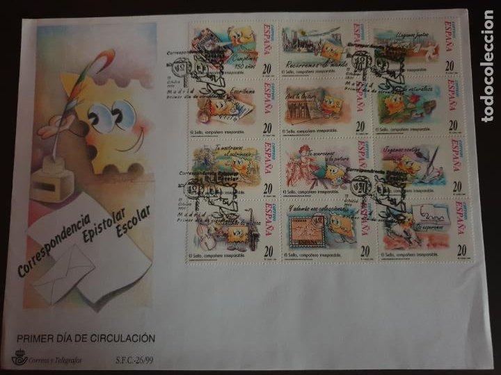 ESPAÑA SOBRE PRIMER DIA EDIFIL SH 3665/676 AÑO 1999 CORRESPONDENCIA EPISTOLAR ESCOLAR (Sellos - Historia Postal - Sello Español - Sobres Primer Día y Matasellos Especiales)