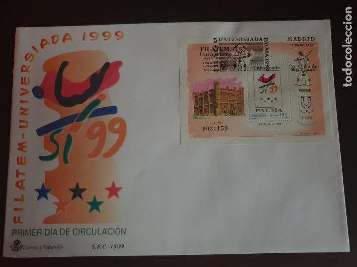 ESPAÑA SOBRE PRIMER DIA EDIFIL SH 3648 AÑO 1999 FILATEM-UNIVERSIADA (Sellos - Historia Postal - Sello Español - Sobres Primer Día y Matasellos Especiales)
