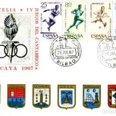 Sellos: SOBRE, EXPO FILATELICA IV JUEGOS CANTABRICO - VIZCAYA - MATASELLOS, BILBAO 29 JUL 1967 EDICION OFICI. Lote 202084460