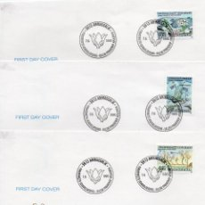 Sellos: GROENLANDIA TRES SOBRES 1 º DIA EMISION, FLORES. Lote 202246996