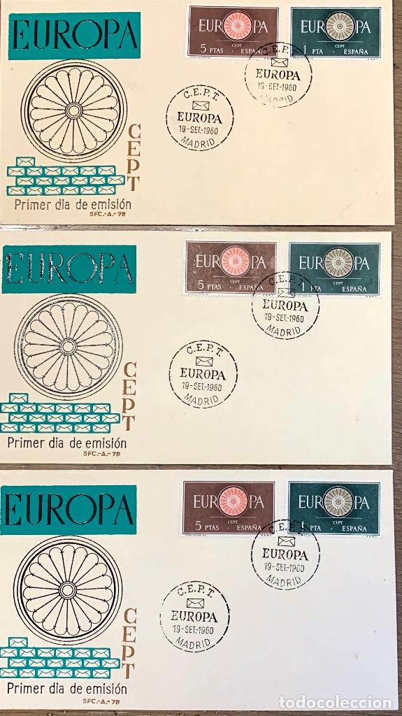 Sellos: LOTE SOBRES 9 PRIMER DIA. 3 EUROPA 1960, 1 EUROPA 1961, 2 DIA SELLO 1960, 2 EXPO 1960, 1 IBERO 1955 - Foto 2 - 202372970