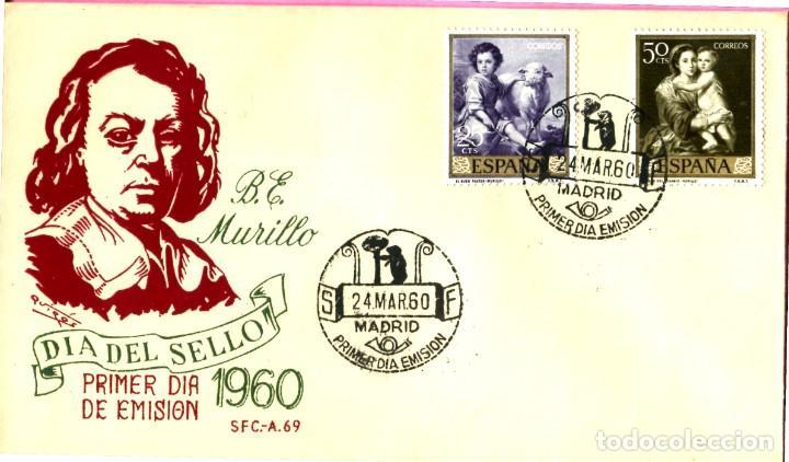 SOBRE DE PRIMER DIA DE CIRCULACION MURILLO AÑO 1960 (Sellos - Historia Postal - Sello Español - Sobres Primer Día y Matasellos Especiales)