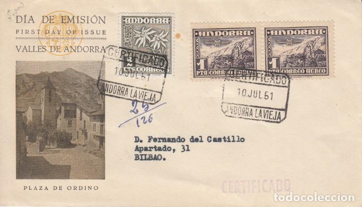 SOBRE: 1951 VALLES DE ANDORRA. PLAZA DE ORDINO (Sellos - Historia Postal - Sello Español - Sobres Primer Día y Matasellos Especiales)