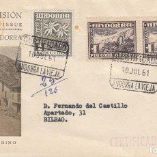 Sellos: SOBRE: 1951 VALLES DE ANDORRA. PLAZA DE ORDINO. Lote 202554457